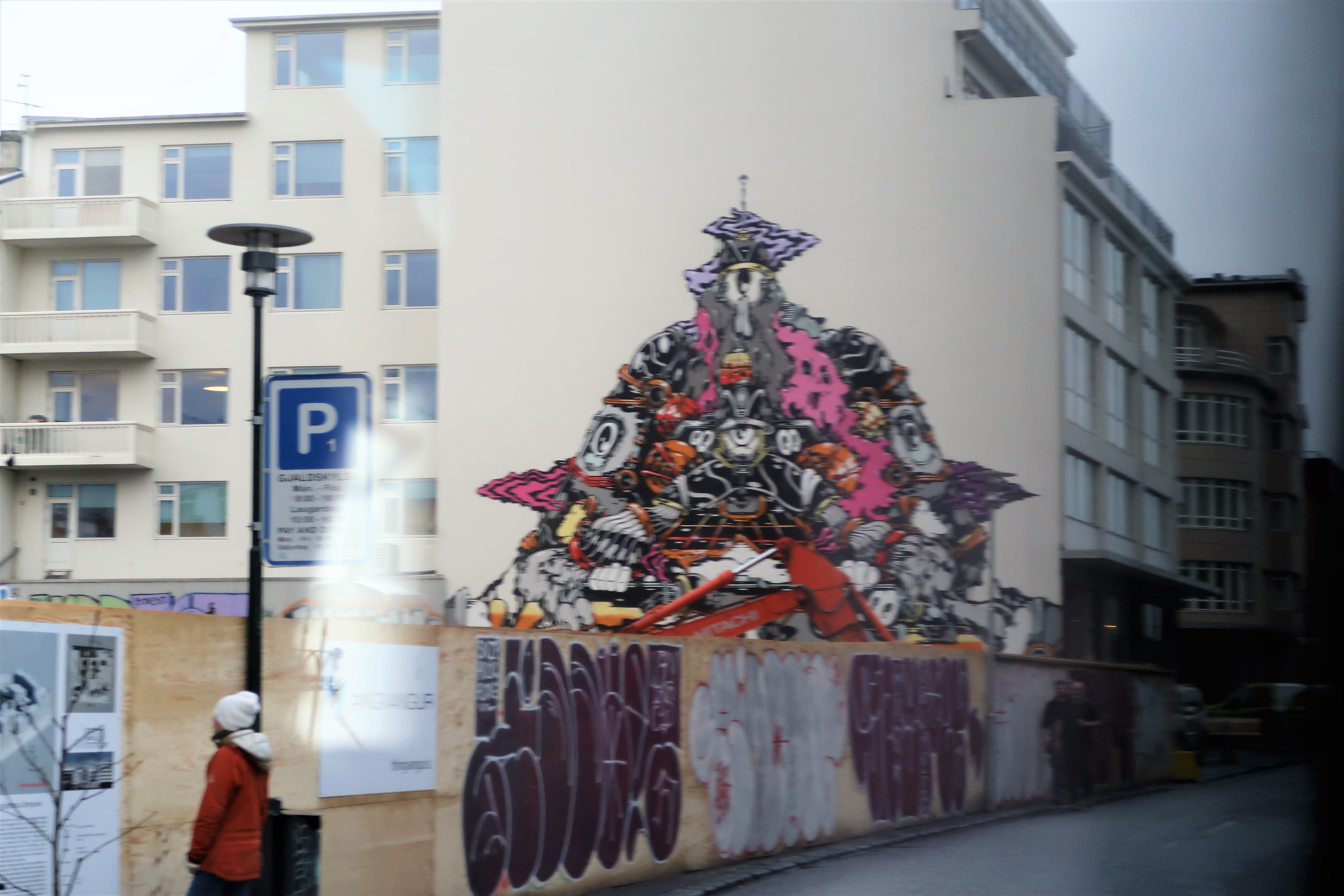 detailed street art on building side reykjavik