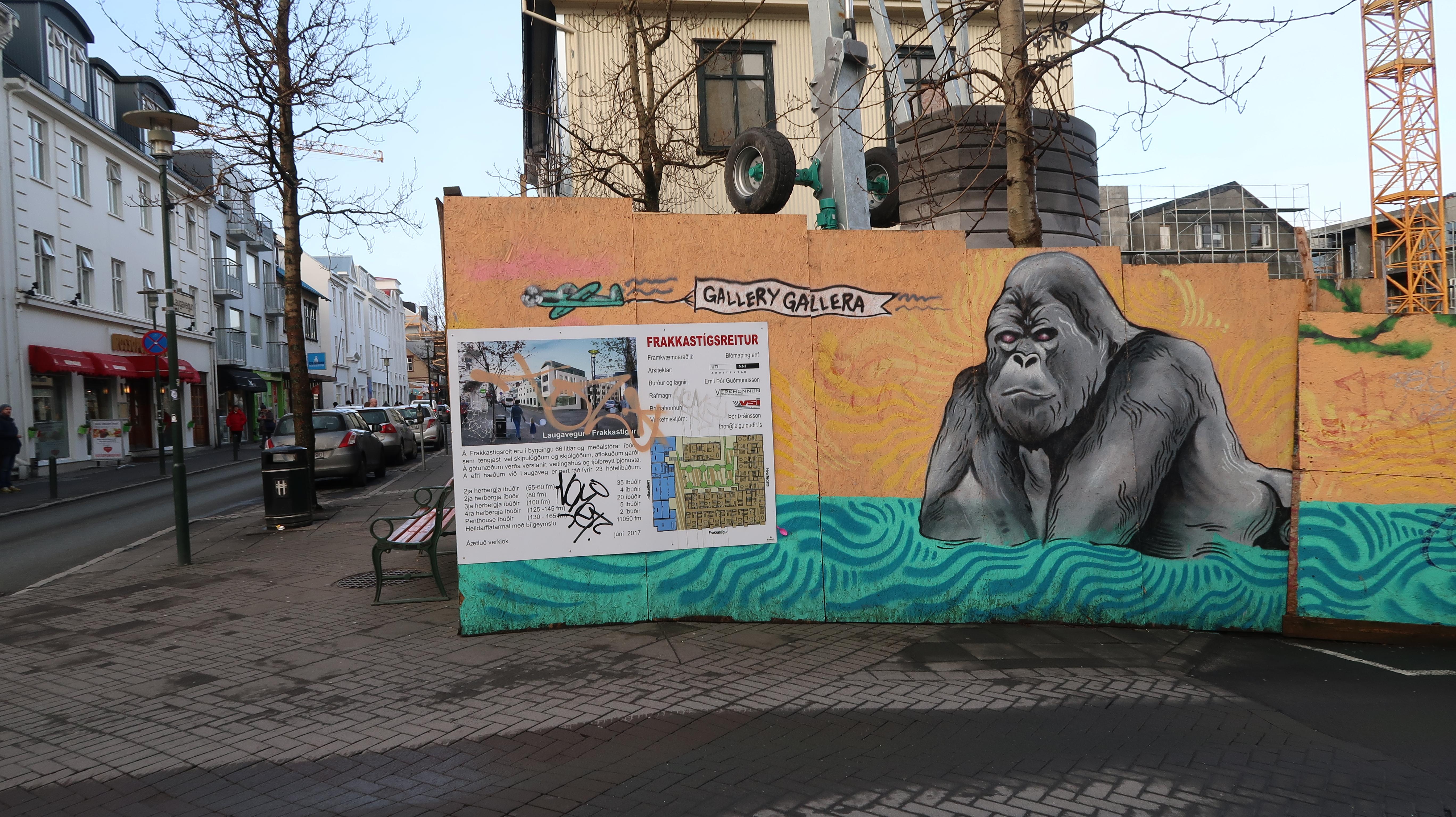 Gorilla street art in reykjavik