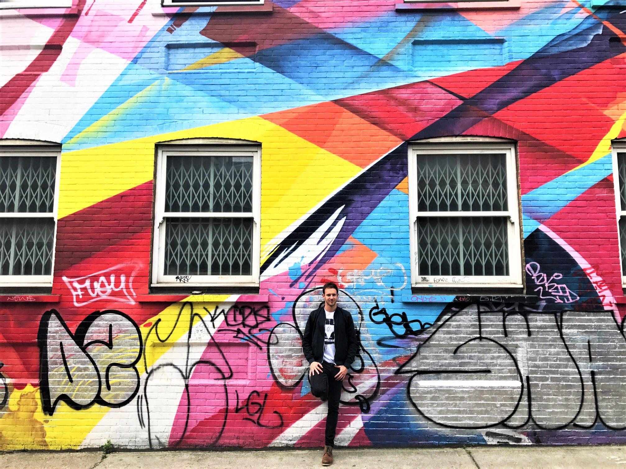 Colorful wall graffiti in east London