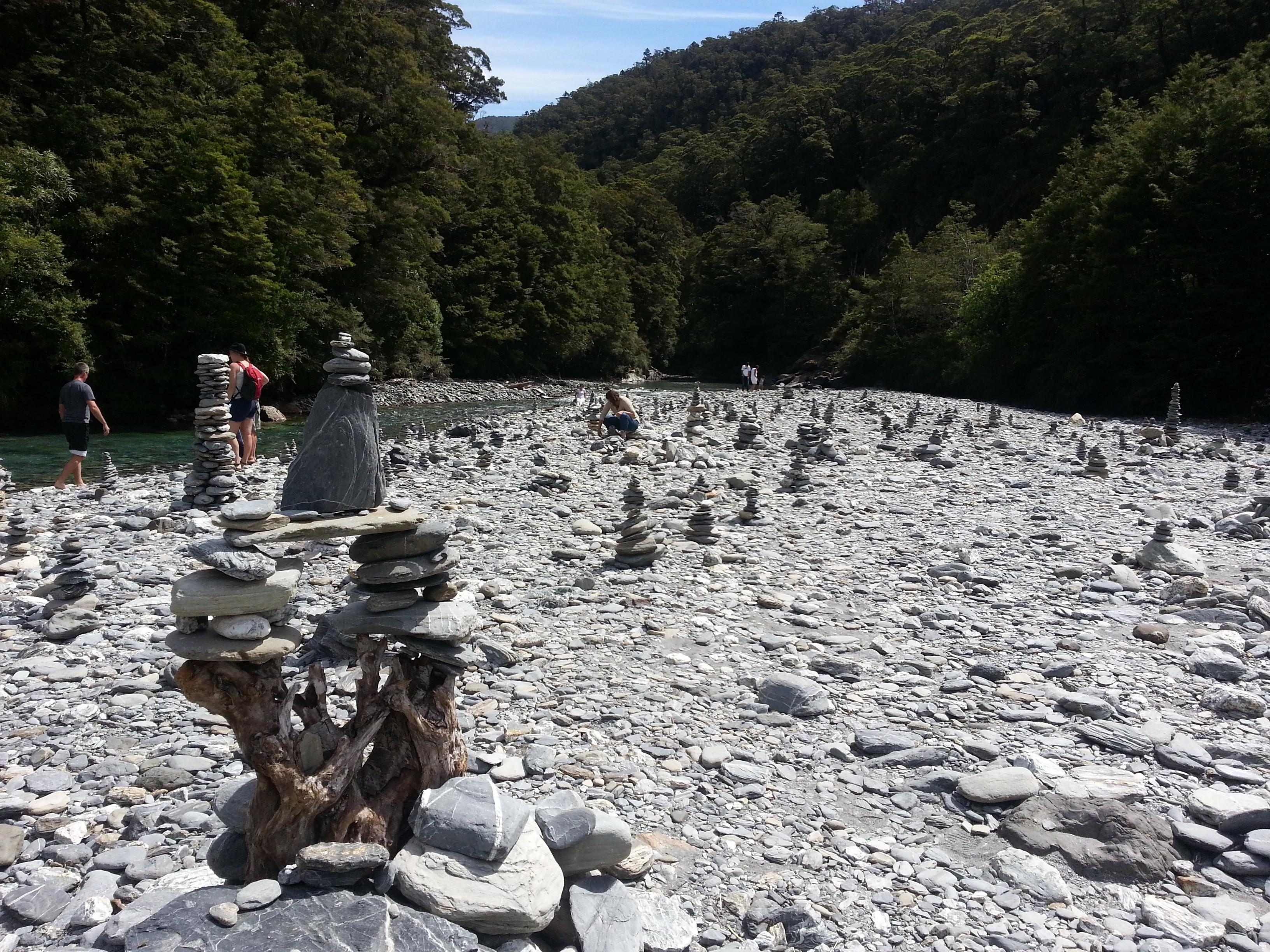 Rock cairns, Fantail Falls, Otago